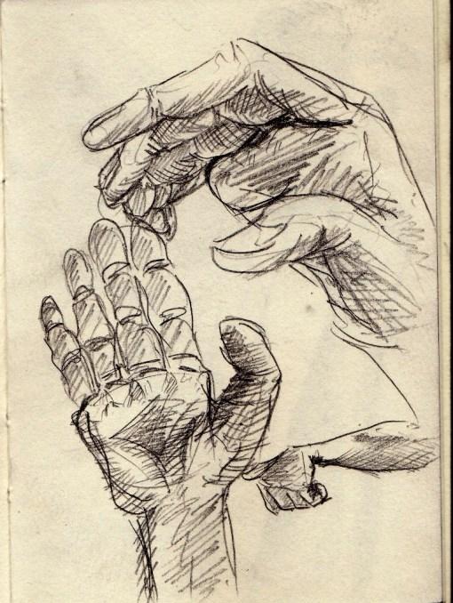 sketching my own hand (dok. Arkanhendra)