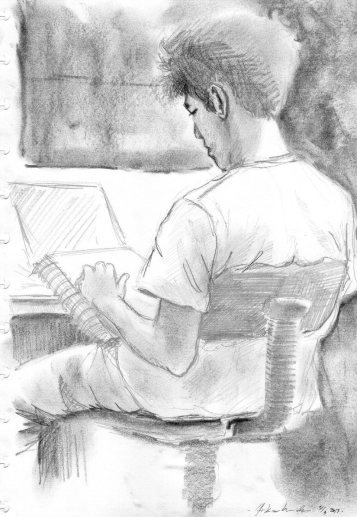 People sketching #8 2B pencil and charcoal. (dok. Arkanhendra)